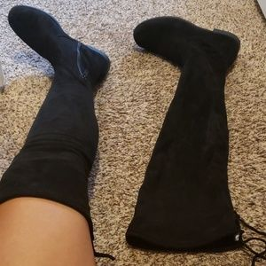 Thigh high black soft boots